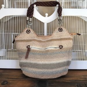 The Sak Sand Stripe Crochet Satchel Bag